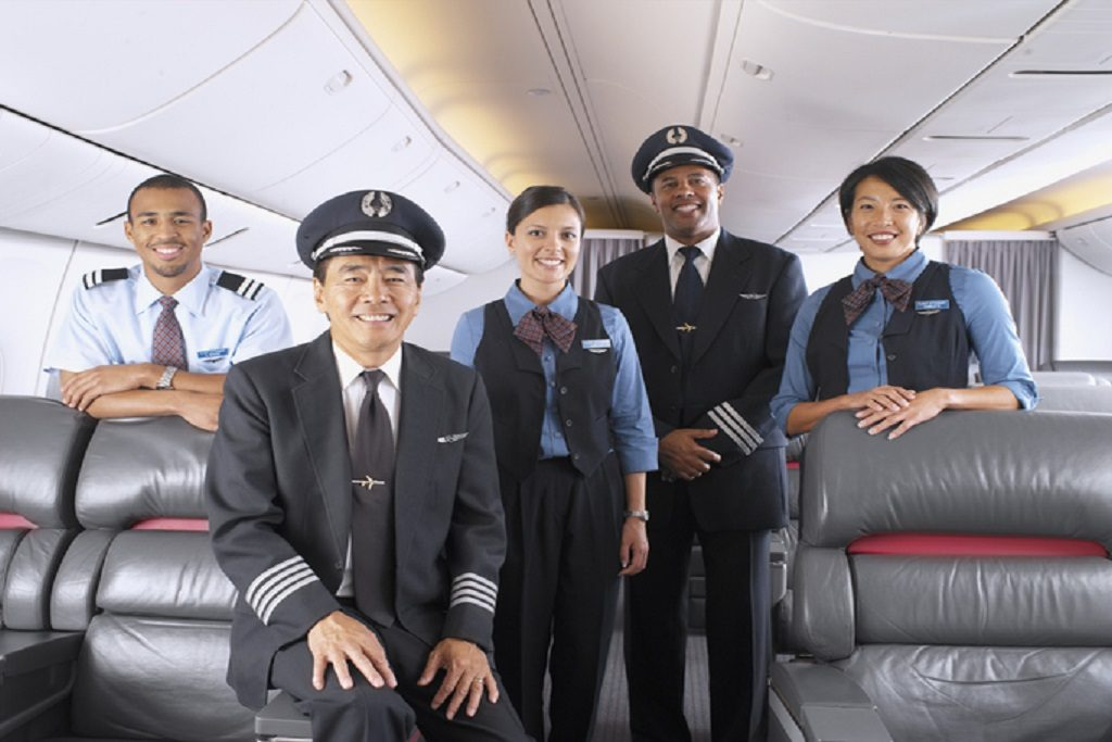 Portrait of the crew of an airplane